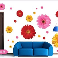 classical flower wall art living room floral stickers home decorations decals daisy Red Yellow colorful wedding gift poster