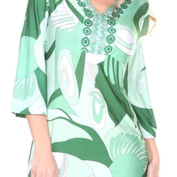 Belinda Mini Dress Print Green Drop Waist 3/4 sleeve V Neck