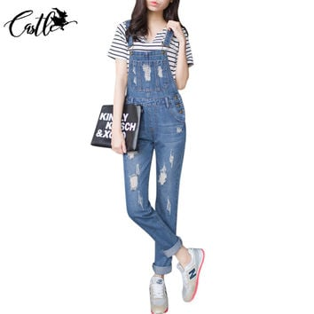 Womens Jumpsuit Denim Overalls 2016 Autumn Casual Ripped Hole Loose Pants Ripped Pockets Jeans Coverall Casual Retro Femme