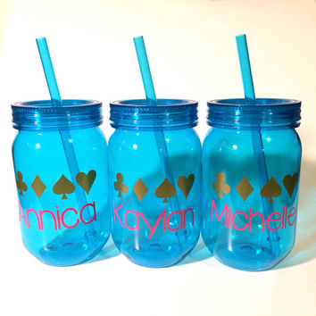 Customized Tumbler, BPA Free, Plastic Tumbler, Turquoise Cups, Monogrammed Cup, Cup with Name, Teacher Gift, Sorority Gift, Monogrammed gift