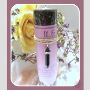 """Bliss"" Pillar Candle with Black Obsidian Pendant"
