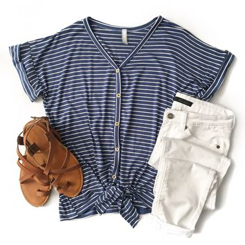 Blue Striped Button Down Tie Top