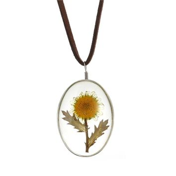One Side Dried Sunflower Necklace Oval Pendant Flower Pressed Necklace