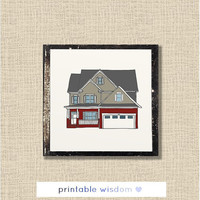 Custom Home Portrait, house drawing personalized - housewarming gift one of a kind