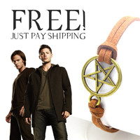 Supernatural Vintage Bronze Star Amulet Rope Leather Bracelets