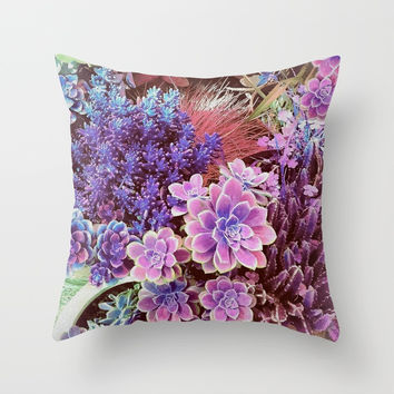 Succulent Garden View Throw Pillow by ninamay