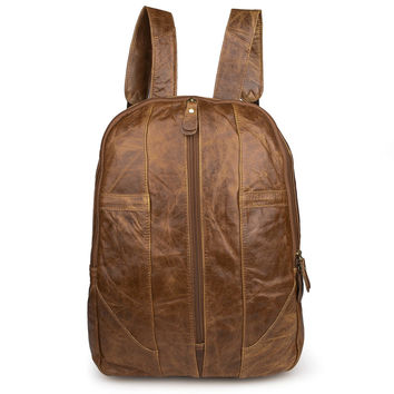 Mens Soft Genuine Leather Backpack Simple Design 2015_Men's Leather Bags