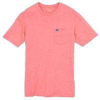 Embroidered Pocket Tee Shirt in Light Coral by Southern Tide