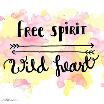Free Spirit Wild Heart Quote Print Boho Decor - Boho Art Print Dorm Wall Art Pink and Yellow Girly Prints - Calligraphy Print Hippie Wall