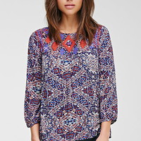 Embroidered Diamond Print Top