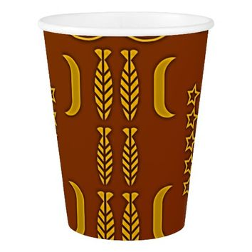 Chestnut Golden Brown African Symbols Paper Cup