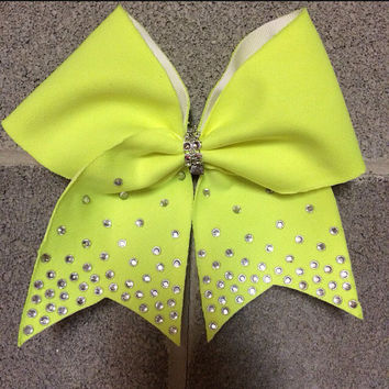 Neon yellow bow with ombré rhinestones