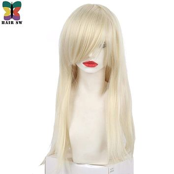 HAIR SW Straight Platinum Blonde Wig Synthetic Natural Cosplay Wig With Bangs Wig Side part for Women Macchar Cosplay Catalogue