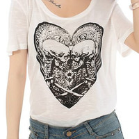 Skull Pattern Cotton Stylish Scoop Neck Short Sleeve Women's T-Shirt FREE SHIPPING !!!
