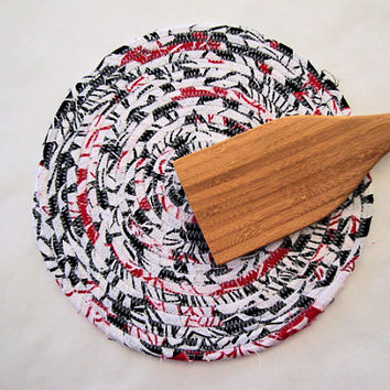 FABRIC COIL TRIVET in Red White & Black - Handmade Trivet - Plant Coaster - Hot Pad - Mug Rug - Table Rug - Blue Trivet - Candle Mat