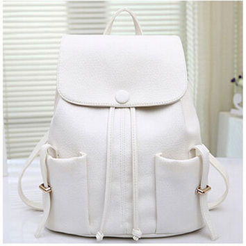 White Front Pocket Drawstring Tassel Backpack
