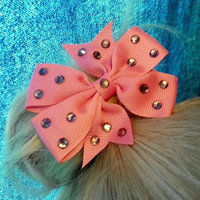 Pair of Crystal Pink Hair Bows