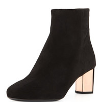 Prada Suede Metallic Heel Ankle Boot