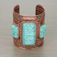 Copper Bracelet With Turquoise Stones