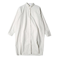 Pinstriped Long Shirt (White) | STYLENANDA