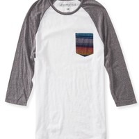 Aeropostale Mens 3/4 Sleeve Southwest Pocket T-Shirt - Gray,