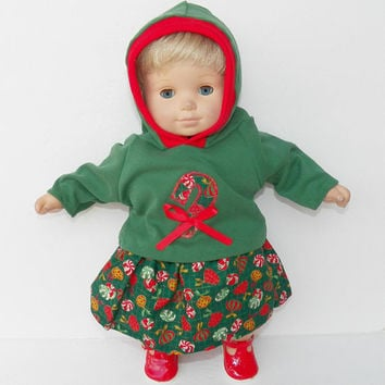 bitty baby clothes, girl, or 15 inch twin doll, Christmas Green candy cane appliqued hoodie t shirt, skirt hood handmade adorabledolldesigns
