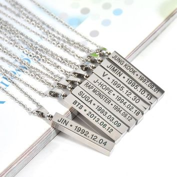 BTS Silver Plated Steel Pendants