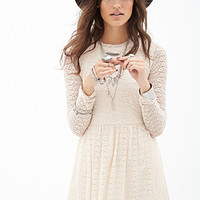 FOREVER 21 Fit & Flare Lace Dress Cream