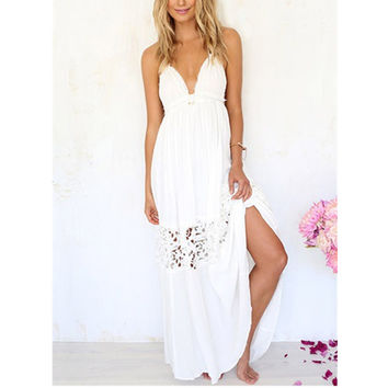 fashion summer female casual sexy boho long white Sleeveless  backless lace crochet chiffon dress Maxi beach dress plus size