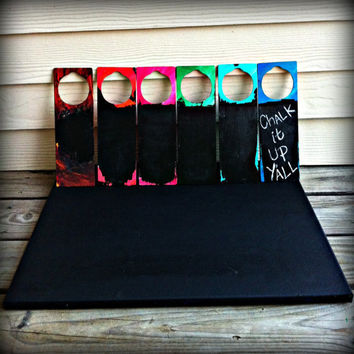 Six Pack of Assorted Wooden Hand Painted Door Hangers with a Chalk Board Painted Message Board Area