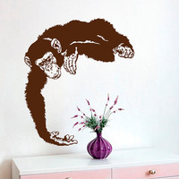 Monkey Wall Decals Chimpanzee Vinyl Decal Sticker Home Interior Design Animals Art Mural Dorm Kids Nursery Baby Room Bedding Decor kk852