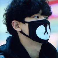 New Arrival Fashion Kpop EXO Chanyeol Same Style Chan yeol Lucky Bear Black Mouth Mask  JS0177