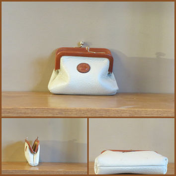 ON SALE Vintage Dooney & Bourke All Weather Leather Small Kiss Lock Coin Purse White Pebble Leather With Tan Trim -VGC