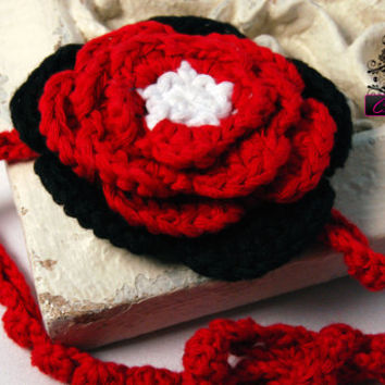 Crochet Red and Black Infant baby toddler Headband Boutique headband