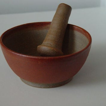 5 Inch Mortar & Pestle Set, Rust Earth Tone Spice Herb Grinder, hand made wheel thrown stoneware ceramic