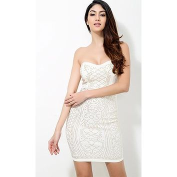 Get It Together White Gold Geometric Stud Strapless Bodycon Mini Dress