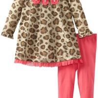 Young Hearts Baby Girls' 2 Piece Leopard Print Bow Pullover And Pant