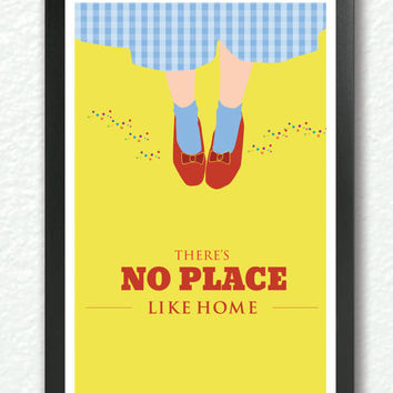 "Inspirational quote print, ""There's No Place Like Home"" Classic Movie Poster, quote poster, Retro poster pop art, A3 Poster"