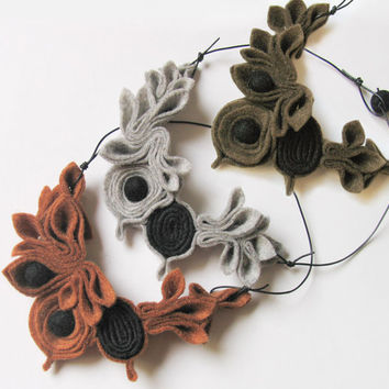 Caramel brown, Olive green, Light gray,  Floral Fiber Necklace, Flower Felt Necklace, Textile Chunky Collar, Fiber Art, Organic Jewelry
