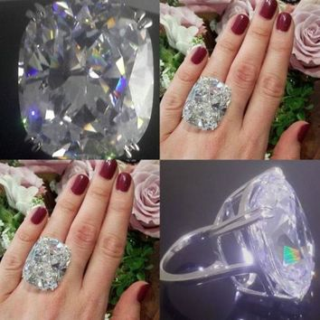 High Quanlity Fashion Women Lady Big White Rhinestone Crystal Wedding Rings Party Ring Jewelry