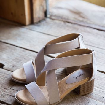 Doria Suede Cross Band Sandal, Taupe