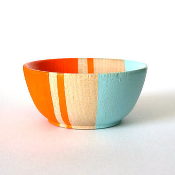 Neon orange and blue wood dish, jewelry dish, ring cup, mini jewelry holder