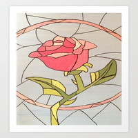 Stained Glass Window Rose Art Print by Sierra Christy Art
