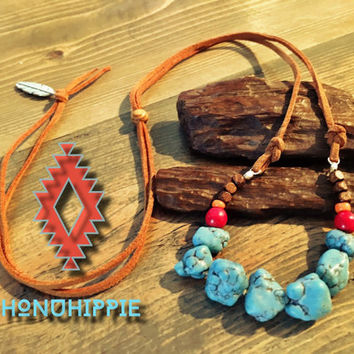 Boho hippie jewelry , native american turquoise necklace