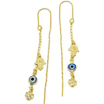 Hamsa Hand Blue Evil Eye Threaders Earrings 18K of Gold-Filled