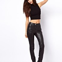 ASOS Skinny Trouser in Leather with Embossed Detail at asos.com