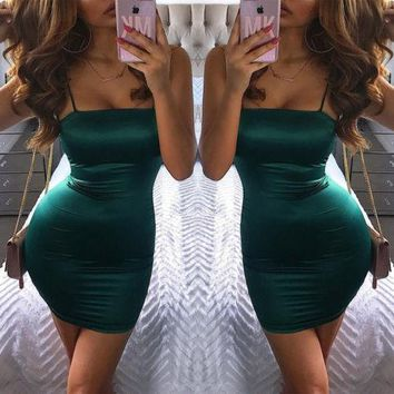 Women Sleeveless Pencil Dresses Solid Spaghetti Strap Mini Dress Ladies Summer Fashion Casual Off Shoulder Dresses