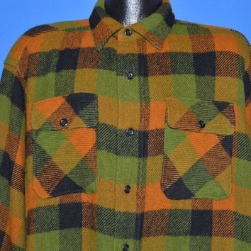 40s Green And Brown Plaid Wool Workwear Shirt Extra Large