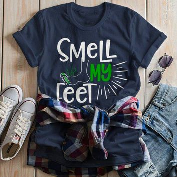 55d835eb57e Women s Funny Halloween T Shirt Smell My Feet Graphic Tee Cool M