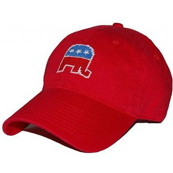 Republican Needlepoint Hat in Red by Smathers & Branson